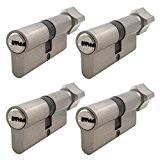 4x serrure de porte avec bouton porte Cylindre Profil serrure à cylindre avec bouton 80mm 40x 40avec 5x Clé réversible
