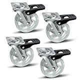 4 x SO-TECH® Roulette pour Meuble Shift transparent Ø 75 mm avec Frein Roulette Pivotante Rouleau de Transport
