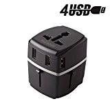 Adaptateur Voyage MILOOL® avec 4 USB Adaptateur Chargeur International pour UK / EU / US / AUS Universel Chargeur de ...