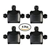 ATPWONZ 4pcs Boîte de jonction IP68 Connecteur étanche 3 voies Connecteurs Boîtier électrique extérieur / extérieur Ø 5.5mm-10.2mm
