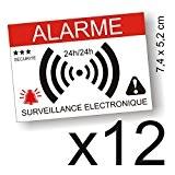 Autocollants dissuasifs Alarme - Surveillance électronique - Lot de 12