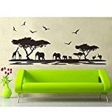 Bluelover PVC amovible Afrique animaux Sticker vie lit chambre fond décoration de mur