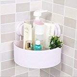 DCAE Cuisine Salle de bain en plastique triangle de rangement Organiser Étagère de douche d'angle mural panier Caddy avec ventouse,Blanc