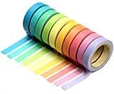 Demarkt Bricolage Décoratif Adhésif Autocollants Rainbow Paper Bande Papeterie Cadeau Scolaire (10 Couleurs Assorties)