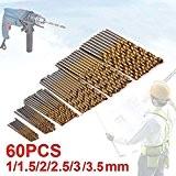 Forets hélicoïdaux JTENG 60 pièces Lot Micro Drill Forets Bits métrique HSS haute vitesse en acier 1mm, 1.5mm, 2mm, 2.5mm ...