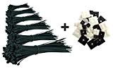 Gamme de 600 Serre-Câbles Premium / Attaches-Câble Noir de 80/100/140/160/200/292mm + 50 Supports Auto-adhésif pour Colliers de Serrage Plastique de ...