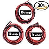 hilitchi 30m/9m Noir et Rouge 10/12/14AWG fil en silicone–Flexible Fil en silicone