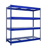 Industrial Basic-caillebotis Etagère semi industrielle charge lourde Bleu