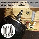 JTENG Coffret de 4pcs Extracteurs de vis endommagées screw remover H.S.S. 4341 #, Temper: 62-63hrc