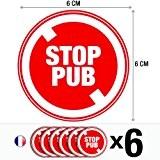 Lot de 6 autocollants / stickers Stop pub / 6 cm
