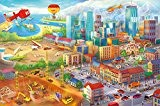 Murale chambre d enfant style comique – murale multiple caractère grande ville construction d'hélicoptères et Aéroport | photo mur deco ...