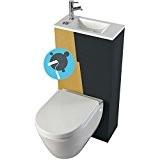 Pack WC suspendu avec lave-mains intégré + abattant frein de chute