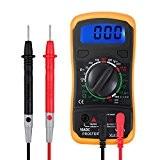 Proster Multimètre Numérique Mini-Multimètre de Gamme Manuelle Testeur des Piles Mètre Compteur DMM pour Bricolage Courant DC AC Ampèremètre Voltmètre ...