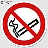 Stickers interdiction de fumer Ø 14cm, Interdiction de fumer non-fumeurs Pictogramme Protection UV (extérieur), aussenkl autocollant pour le bureau, Atelier, ...