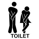 Toilette Autocollant Mural, Créatif Imperméable Amovible Décorations Stickers Noir (3)