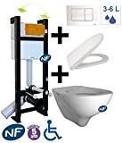 TubConcept - WC suspendu autoportant EVO - Bâti-support + Cuvette + abattant + Plaque de commande