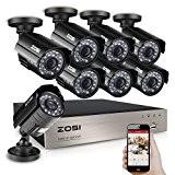 ZOSI AHD 720P 8CH DVR Enregistreur Vidéo avec 8pcs AHD 720P Caméra Extérieure IP66, 20m Vision Nocturne, 24pcs Leds IR, ...