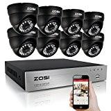 ZOSI AHD 720P 8CH DVR Enregistreur Vidéosurveillance 8pcs Caméra Dôme 1280TVL 720P Système de Surveillance de Sécurité Extérieure Vision Nocturne ...